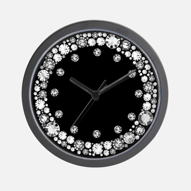 Diamond Design Wall Clock : Sparkly clocks wall large modern