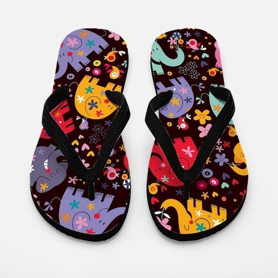 Colorful Elephants Flip Flops