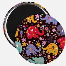 Colorful Elephants Magnet