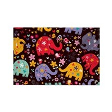 Colorful Elephants Rectangle Magnet (100 pack)