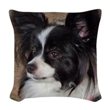 Papillon Side pose Woven Throw Pillow