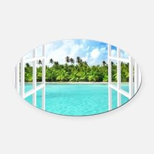 Island View Oval Car Magnet