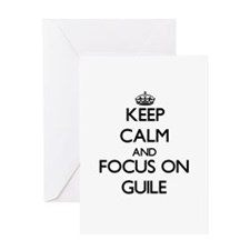 Keep Calm and focus on Guile Greeting Cards