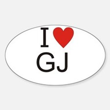 Cute I heart gj Sticker (Oval)
