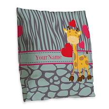 Custom Giraffe, Zebra Animal P Burlap Throw Pillow