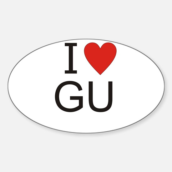 Cute I heart gu Sticker (Oval)