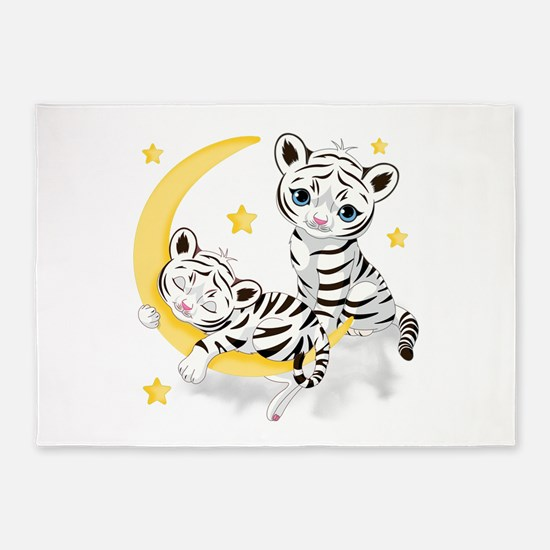White Tigers - 5'x7'Area Rug