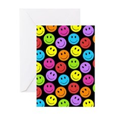 Happy Colorful Smiley Faces Pattern Greeting Cards