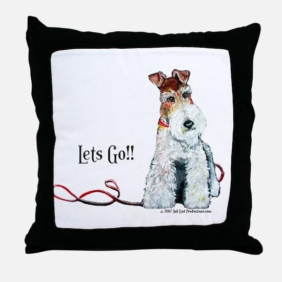 Fox Terrier Walk Throw Pillow