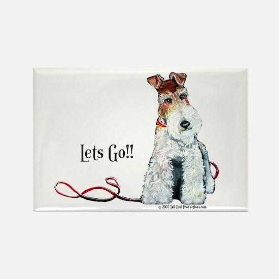 Fox Terrier Walk Rectangle Magnet