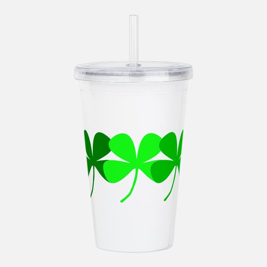 Irish 4 Leaf Clovers Acrylic Double-Wall Tumbler