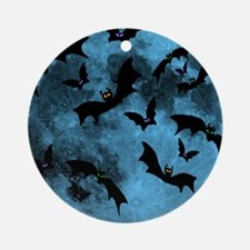 Bats Flying in Blue Moon Round Ornament