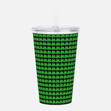 Green Shamrocks St. Patricks Day Black Acrylic Dou