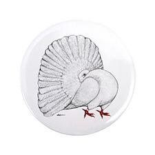 "Fantail White Pigeon 3.5"" Button"