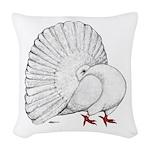 Fantail White Pigeon Woven Throw Pillow