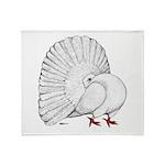 Fantail White Pigeon Throw Blanket