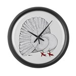 Fantail White Pigeon Large Wall Clock