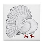 Fantail White Pigeon Tile Coaster
