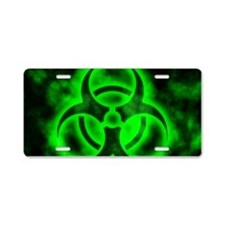 Green Biohazard Symbol Aluminum License Plate