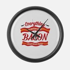 Cute Bacon is meat candy Large Wall Clock