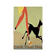 Curb Your Dog New Sign Rectangle Magnet