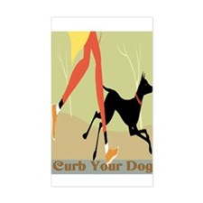 Curb Your Dog New Sign Rectangle Decal