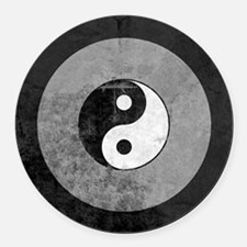 Distressed Yin Yang Symbol Round Car Magnet