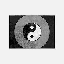 Distressed Yin Yang Symbol 5'x7'Area Rug