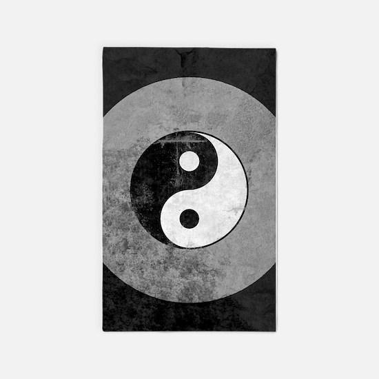 Distressed Yin Yang Symbol 3'x5' Area Rug