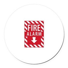 Fire Alarm Sign Round Car Magnet
