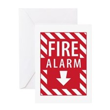 Fire Alarm Sign Greeting Cards