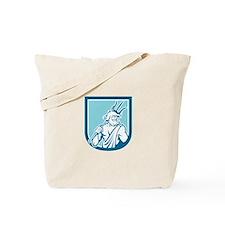 Neptune Poseidon Trident Shield Retro Tote Bag