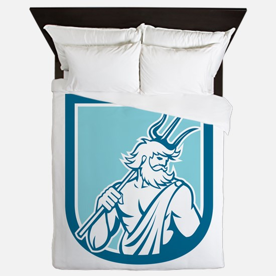 Neptune Poseidon Trident Shield Retro Queen Duvet