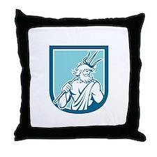 Neptune Poseidon Trident Shield Retro Throw Pillow