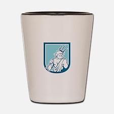 Neptune Poseidon Trident Shield Retro Shot Glass