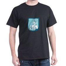 Neptune Poseidon Trident Shield Retro T-Shirt