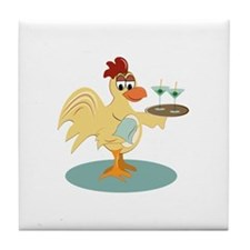 Martini Rooster Tile Coaster