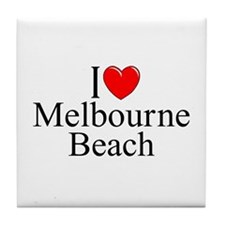 """I Love Melbourne Beach"" Tile Coaster"