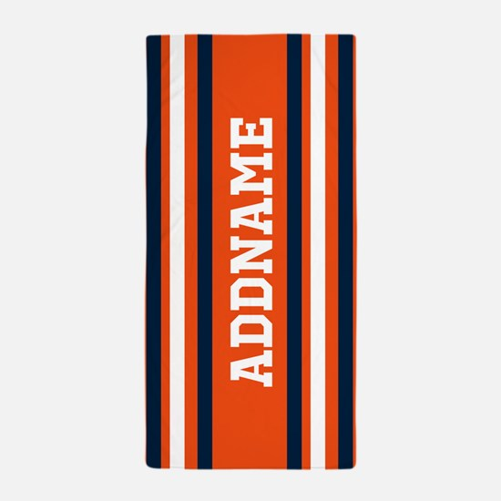 Orange and Blue Sports Stripes Beach Towel