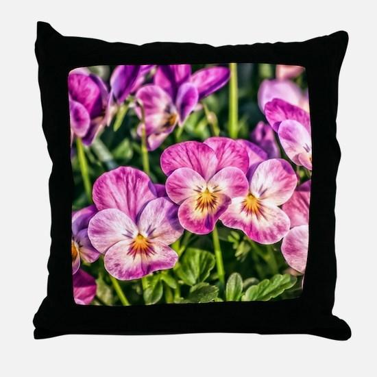 Pink Pansies Throw Pillow