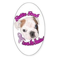 Bettie BoobTSaves the Boobies Oval Decal