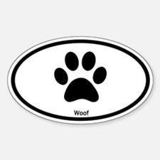 Paw Print Woof Euro Oval Decal