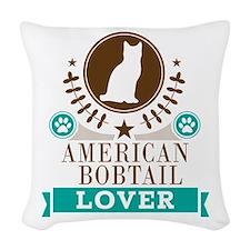 American Bobtail Cat Woven Throw Pillow