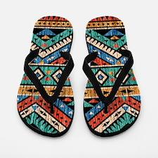 Vintage Aztec Pattern Flip Flops
