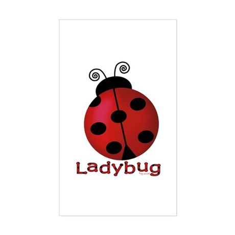 Cute Ladybug Rectangle Sticker