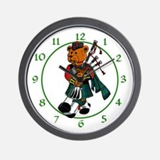 Jimmie the Scottish Piper Bear Wall Clock