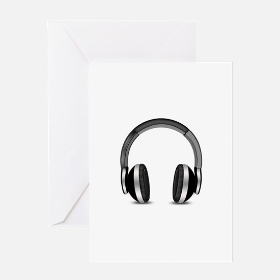 Earmuffs Earphone Headphone Greeting Cards