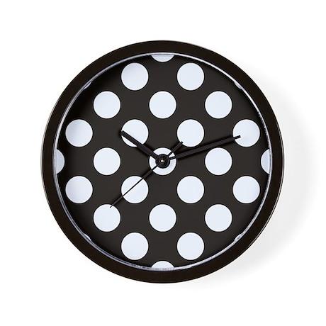 Black And White Polkadots Wall Clock
