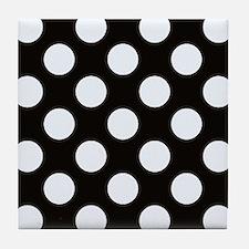 Black and white polkadots Tile Coaster