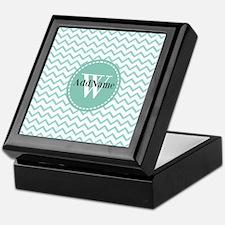Modern Light Aqua Chevron Monoram Keepsake Box